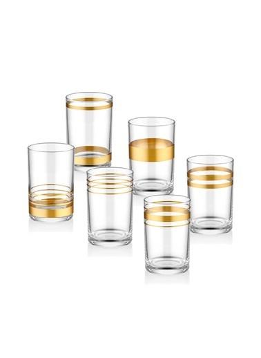 The Mia Lines Kahve Yanı Su Bardağı 6 Lı Set - Gold Altın